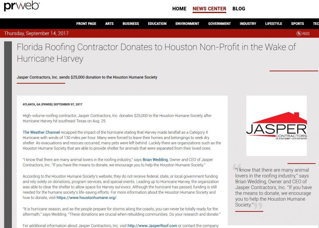 Florida Roofing Contractor Donates to Houston Non-Profit in the Wake of Hurricane Harvey